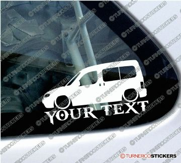 2x Custom YOUR TEXT Lowered car stickers - Peugeot Partner Combi 1996-2002 Pre-facelift